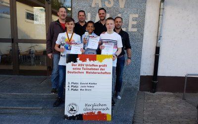 Deutsche Meisterschaften B-Jugend: Bronze für David Kiefer, Platz 4 für Justin Federer und Platz 7 für Max Brenn